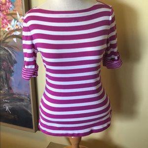 Ralph Lauren Purple & White Striped Tee Sz. Md